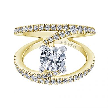 Gabriel & Co. Bridal Nova 14k Two-tone Gold Diamond Split Shank Engagement Ring