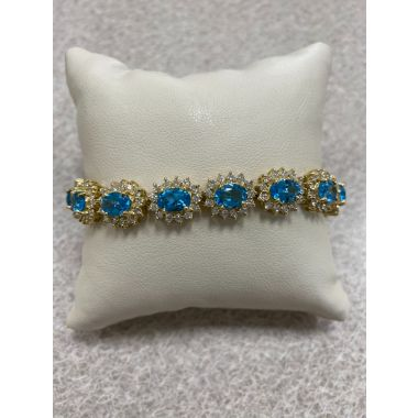 14K Yellow Gold Blue Topaz & Diamond Bracelet