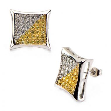 Inox White Stainless Steel Stud Earrings