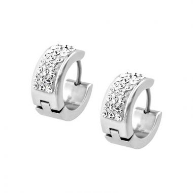 Inox White Stainless Steel Huggie Earrings